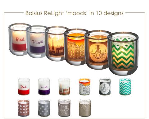 Bolsius refills. Navulkaarsen Relight Moods in 6 designs