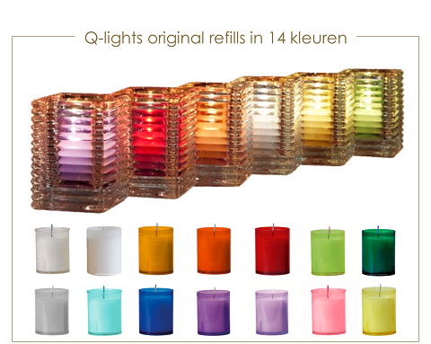 Q-lights refills. Navulkaarsen in 13 kleuren