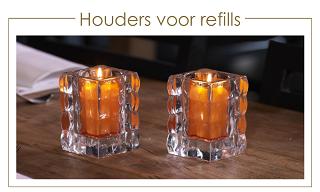 Glazen houders voor refill / navul kaarsen